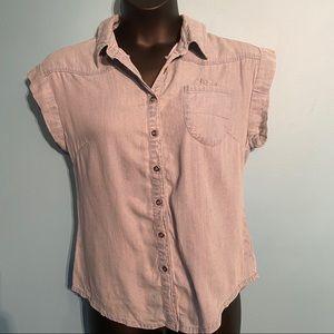 Celebrity pink denim button up blouse